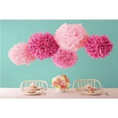 Sorive® 5pcs 2 Sizes Tissue Paper Flowers,Tissue Paper Pom Poms,Wedding Party Decor,Pom Pom Flowers,Tissue Paper Flowers Kit, Pom Poms Craft,Pom Poms Decoration-Sorive (Pink & Light Pink)
