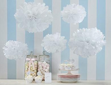 Sorive®5pcs 2 Sizes Tissue Paper Flowers,Tissue Paper Pom Poms,Wedding Party Decor, Pom Pom Flowers,Tissue Paper Flowers Kit, Pom Poms Craft,Wedding Poms,Poms Decoration-Sorive(White & Rice White)