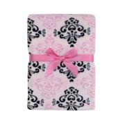 Baby Gear Plush Velboa Ultra Soft Baby Girls Blanket 30 x 40 Pink Black Demask