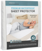Greenco Premium Hypoallergenic Waterproof Sheet Protector, 90cm x 130cm 8 Cups Absorbency, 300 Machine Washes