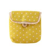 Academyus Lady's Cotton Nappy Sanitary Napkin Storage Bag - Yellow