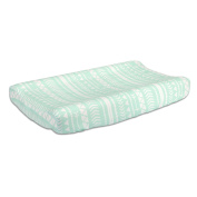 Mint Green Tribal Print 100% Cotton Changing Pad Cover by The Peanut Shell