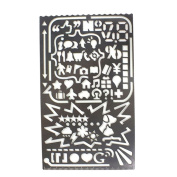 Multifunctional Portable Drawing Template,JoyTong Stainless Steel Stencil with 60 Apertures Size 12cm ×7.4cm