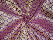 SILK BROCADE FABRIC PURPLE,LIGHT GOLD & METALLIC 140cm - Hobbies,Home decor,Sewing,Fashion,Doll Dress,Furnishing,Interior.