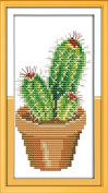 Dahlia DIY Counted Cross Stitch Kits Cactus Print Embroidery Handmade Needlework Wall Home Decor