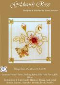 Goldwork Rose - Rajmahal Sadi Metal Thread and Art Silk Kit