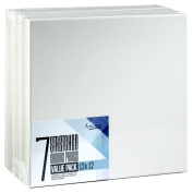 Artlicious - SUPER VALUE 7 PACK - 30cm x 30cm Pre-Stretched Cotton Canvas Panel Boards - Use with All Acrylics, Oils and Other Painting Media