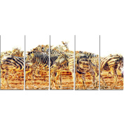 Digital Art PT2365-401 Zebra Herd Large Animal Canvas Art