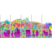 Digital Art PT2364-401 Rainbow Zebras Large Animal Canvas Art