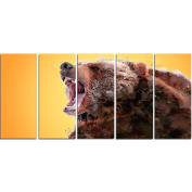 Digital Art PT2342-401 Beware of the Bear Yellow Large Animal Canvas Art