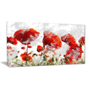 Digital Art PT3432-40-20 Orange Red Flower Buds Floral Canvas Art