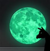 Marsway® Creative 20cm Moon Night Luminous Removable Self Adhesive Wall Decal Glow in the Dark Decorative Sticker