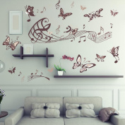 Amaonm® Removable Cartoon Lovely Hote Fashion DIY Vinyl Music Butterfly Wall art Decor Decal Stickers for Girls lady Kids Bedroom Living Room Offices Classroom Nursery room