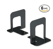 Innovera Nonskid Heavy Gauge Steel Universal Economy Bookends, 4 3/4 x 13cm x 13cm , Black, 6 Pair