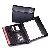 Samsill Professional Tri-Fold Padfolio with Calculator, Black
