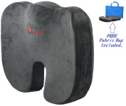 Space Hax ® Memory Foam Seat Cushion to Help alleviate and prevent Pains associated with lower back, sciatica, hemorrhoid, fissures, ect. (Dark Grey) (Wide) inventory will be replenished 7/15/2016