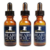 Premium Beard Oil and Conditioner for a Softer, Itch Free Beard - Variety Pack of 3 - 30ml Bottles - Handmade with High Quality Carrier and Essential Oils that Offer Important Vitamins and Nutrients!