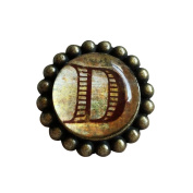 A.B Crew 42mm Antique Glass Cabinet Knobs Home Decor Cupboard Drawers Pulls Handles Unique Hardwares Fittings, Letter D