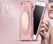 iPhone 6 Mirror Case,Inspirationc® Bling Rhinestone Clear Rubber Plating Frame TPU Soft Silicone Bumper Case Cover for iPhone 6 /6S 12cm --Rose Gold