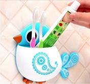 Drhob 1Pcs Cute Cartoon Bird Toothbrush Holder Wall Suction Cup Pocket Bathroom Organiser Storage Make up Brush Holder (Multicolor random)