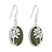 Tree of Life Drop Earrings Silver & Connemara Marble