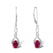 Lab Created Ruby Dangle Earrings Diamond Accents in Sterling Silver