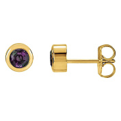 Bezel Set Full Colour Change Chatham Created Alexandrite Stud Earrings 14K Gold