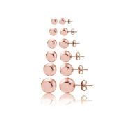 Hoops & Loops Sterling Silve Polished Ball Bead Stud Earrings Set of 6