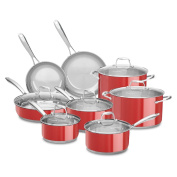 KitchenAid 18/10 Stainless Steel 14-Piece Cookware Set, Empire Red