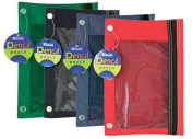 Bazic 3-Ring Pencil Pouch with a Mesh Window, Colours May Vary