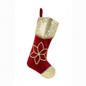 Valery Madelyn 50cm Red and Gold Stocking with Traditional Christmas Flower Design