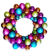 Queens of Christmas BAT-BWR-16-FU-PW Mardi Gras Ball Christmas Wreath with Battery Powered Pure White LED, 41cm