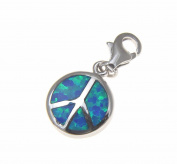 925 Sterling silver rhodium peace sign blue opal clasp enhancer pendant charm