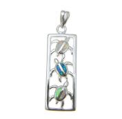 925 Sterling silver rhodium Hawaiian multi opal vertical honu sea turtle pendant