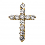 Elegant 14k Yellow Gold 15 Carat Round Cubic Zirconia Cross Pendant