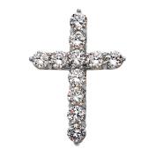 Elegant 10k White Gold 15 Carat Round Cubic Zirconia Cross Pendant