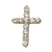 Elegant 10k Yellow Gold 9 Carat Round Cubic Zirconia Cross Pendant