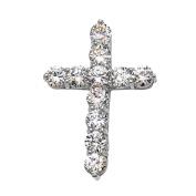Elegant 14k White Gold 9 Carat Round Cubic Zirconia Cross Pendant