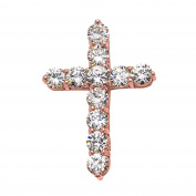 Elegant 14k Rose Gold 9 Carat Round Cubic Zirconia Cross Pendant