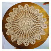 Mmei 80cm Handmade Crochet Pure Cotton Tablecloths Round Table Cover Lace Table Covering Doilies for Furniture Decor Weddings Designer Table Cloth
