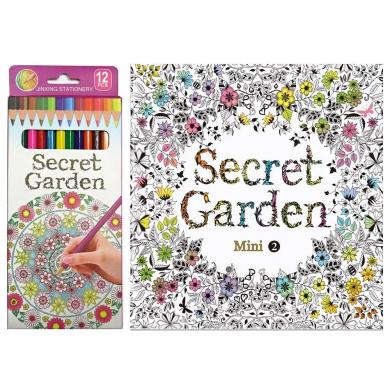 Secret Garden Mini 2 Colouring Book with 12 Colour Pencil