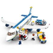 Sluban B0366 Building Block Plane City Airport Cargo Terminal 463pcs 7dolls Compatible