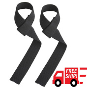 Power Hand Bar Straps Weight Lifting Straps and Cotton Straps Cotton Webbing Wrist Wraps Strengthen Training Workout Exercise Fitness Straps Black PAIR