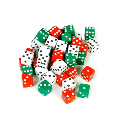 Tytroy Red, White, and Green Dot Dice (6 of Each)