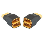 Hobbysky 2pcs No Wires 1 XT-60 Male to 2 XT-60 Female XT60 Parallel Battery Connector
