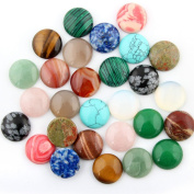 Mutilcolor 12pcs 20x20mm Chakra Beads Round CAB Cabochon Healing Beads Crystal Quartz Stone Randow Colour Wholesale for Jewellery Making