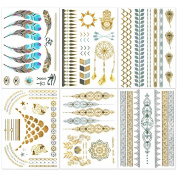 Hakuna 6 Sheets Metallic Temporary Tattoos, Jewellery Patterns in Flash Gold/ Silver/ Blue