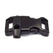 1.6cm Contoured Plastic Emergency Survival Whistle Buckle for Paracord BraceletsBlack 25 Pack