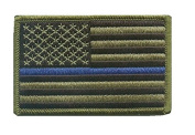 Green US Flag Thin Blue Line hook and loop Patch for Police and Law Enforcement