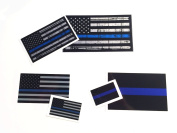 Bundle - 6 Thin Blue Line 3m Reflective Decals Stickers United States Us Flag Tactical Police Law Enforcement Support